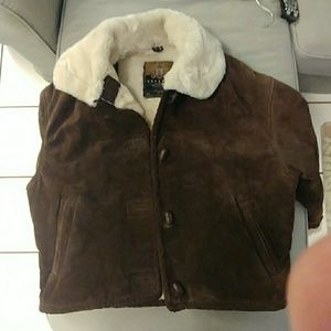 Express leather faux fur-lined coat. Sz XS